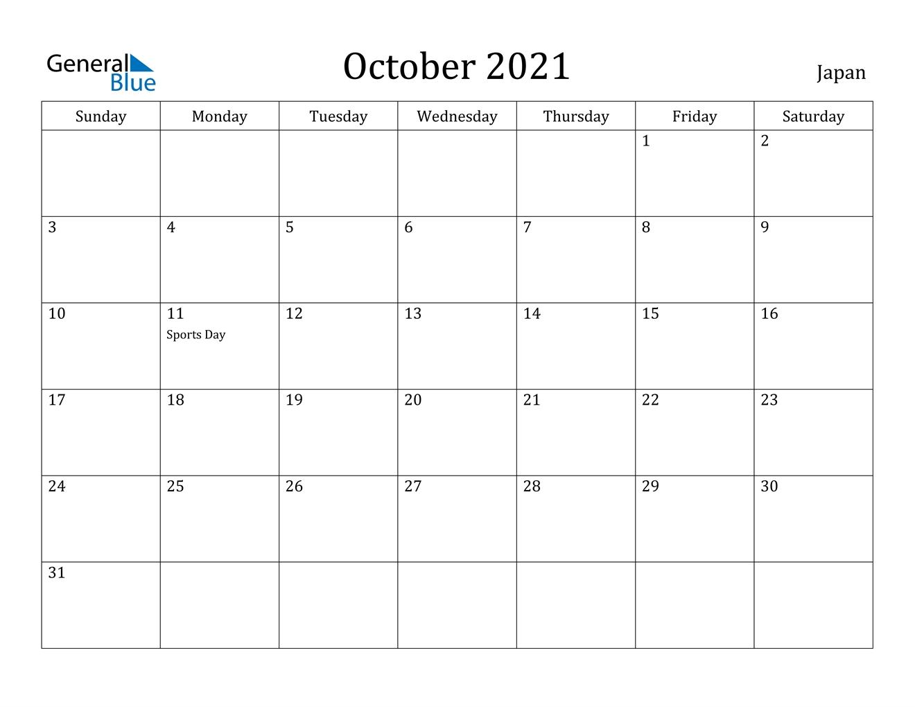 October 2021 Calendar - Japan October 2020 To January 2021 Calendar