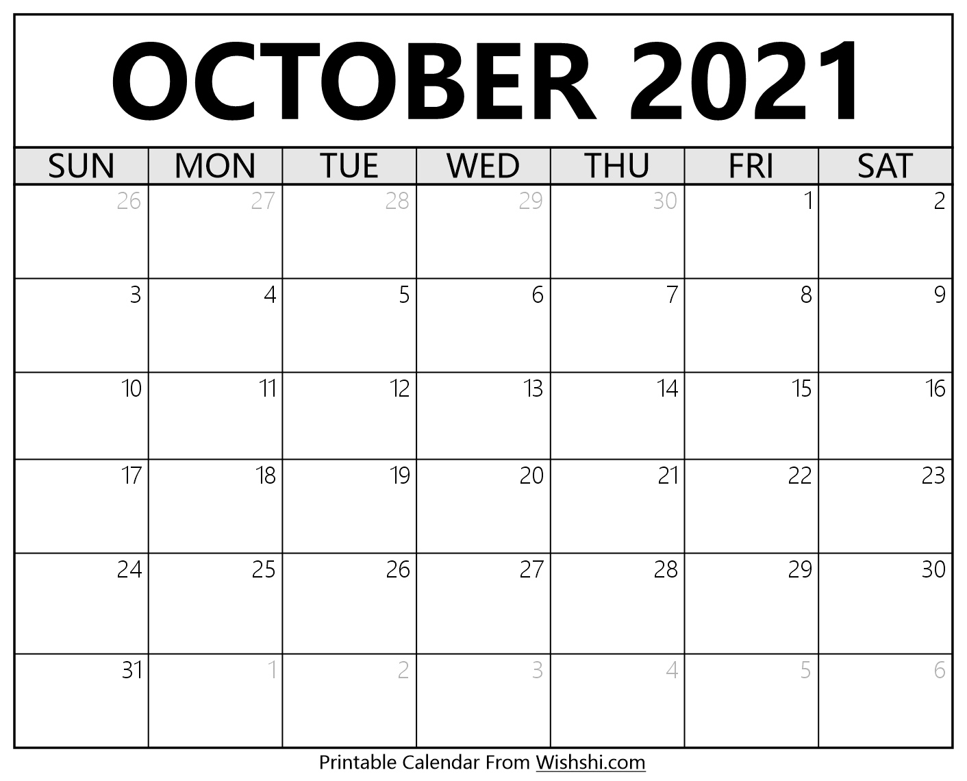 October 2021 Calendar Printable - Free Printable Calendars October 2021 Calendar Printable October 2021 Calendar To Print