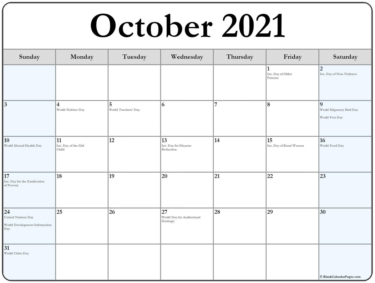 October 2021 Calendar With Holidays October 2020 To January 2021 Calendar