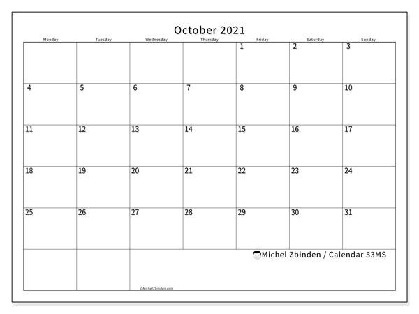 "October 2021 Calendars ""Monday - Sunday"" - Michel Zbinden En October 2021 Calendar Starting Monday"