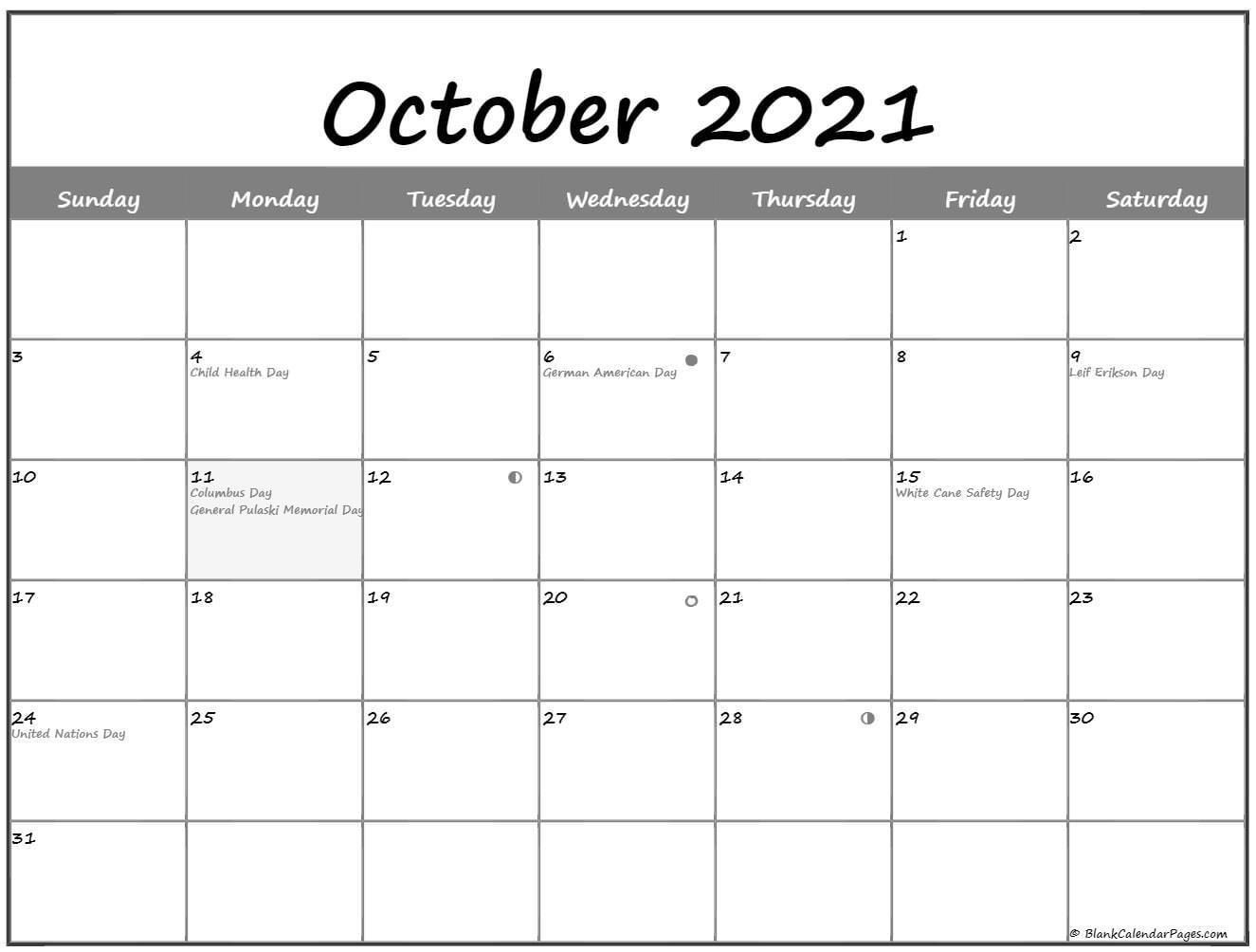 October 2021 Lunar Calendar | Moon Phase Calendar July 2021 Lunar Calendar