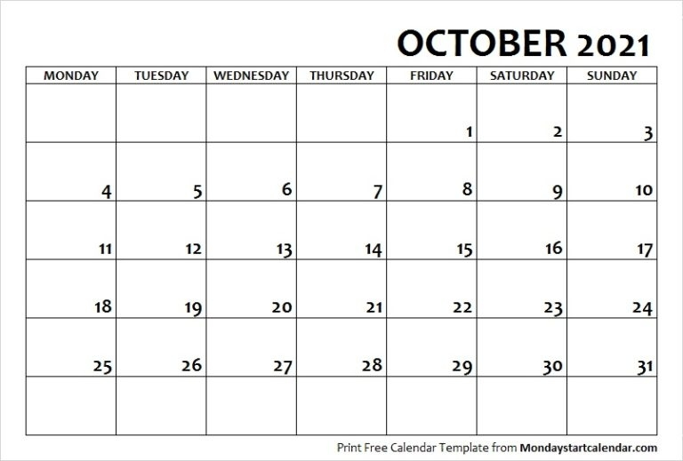 October Calendar Archives - Page 7 Of 7 - Monday Start Calendar October 2021 Calendar Starting Monday