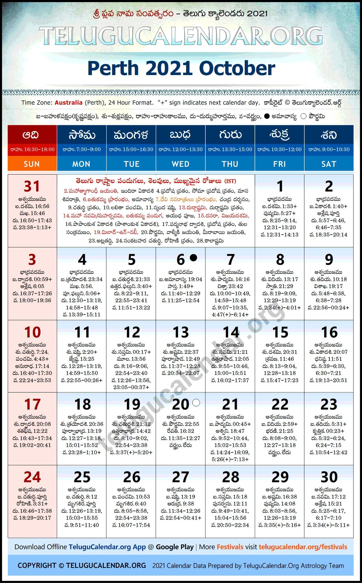 Perth 2021 October Telugu Calendar Festivals & Holidays Telugu Calendar 2021 October Andhra Pradesh