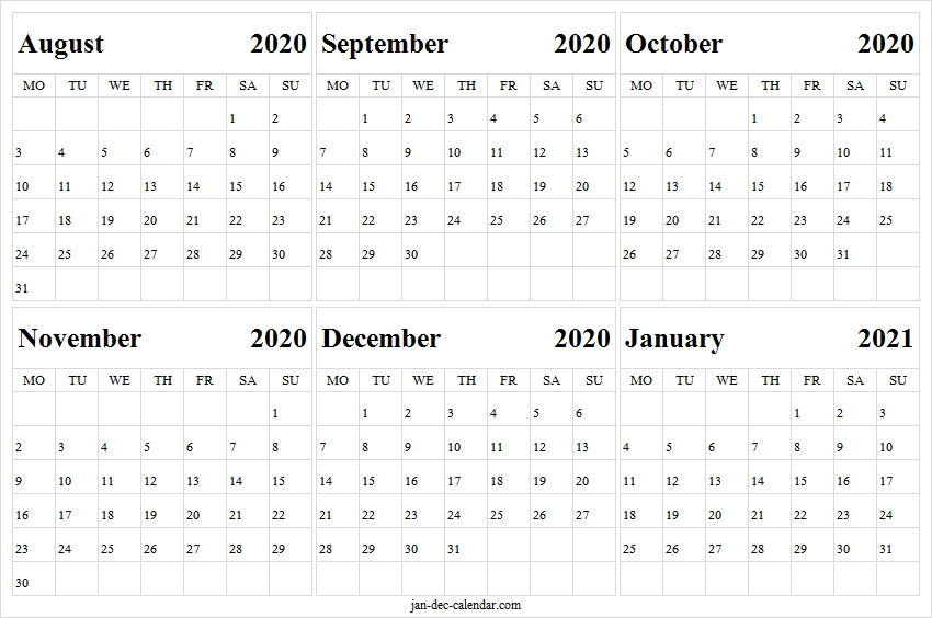 Print August 2020 To January 2021 Calendar - Blank Calendar Template Calendar August 2020 To May 2021
