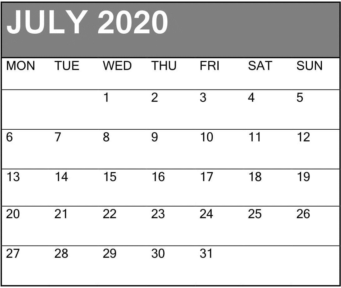 Print July Calendar 2020 | Holiday Calendar, Blank Calendar, Calendar Printables Waterproof Calendar August 2021