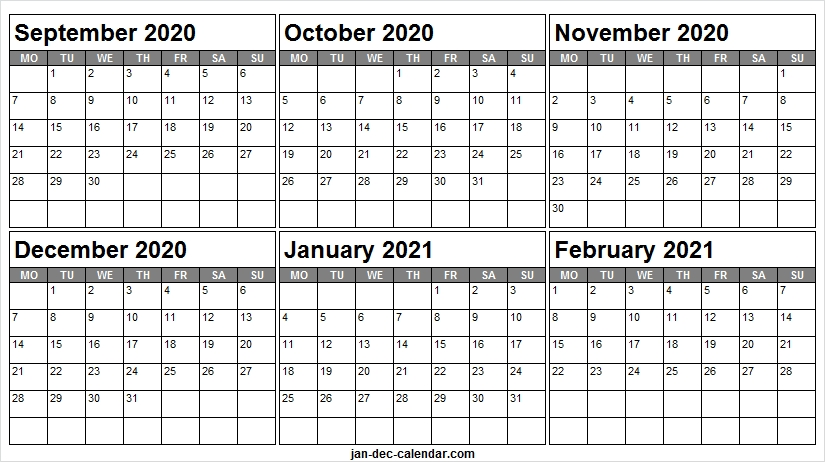 Print September 2020 To February 2021 Calendar - Monthly Calendar 2020 September To December 2021 Calendar