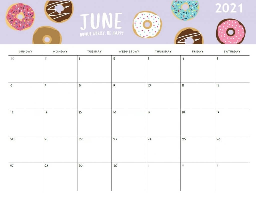 Printable 2021 Monthly Calendar June 2021 Blank Calendar Printable