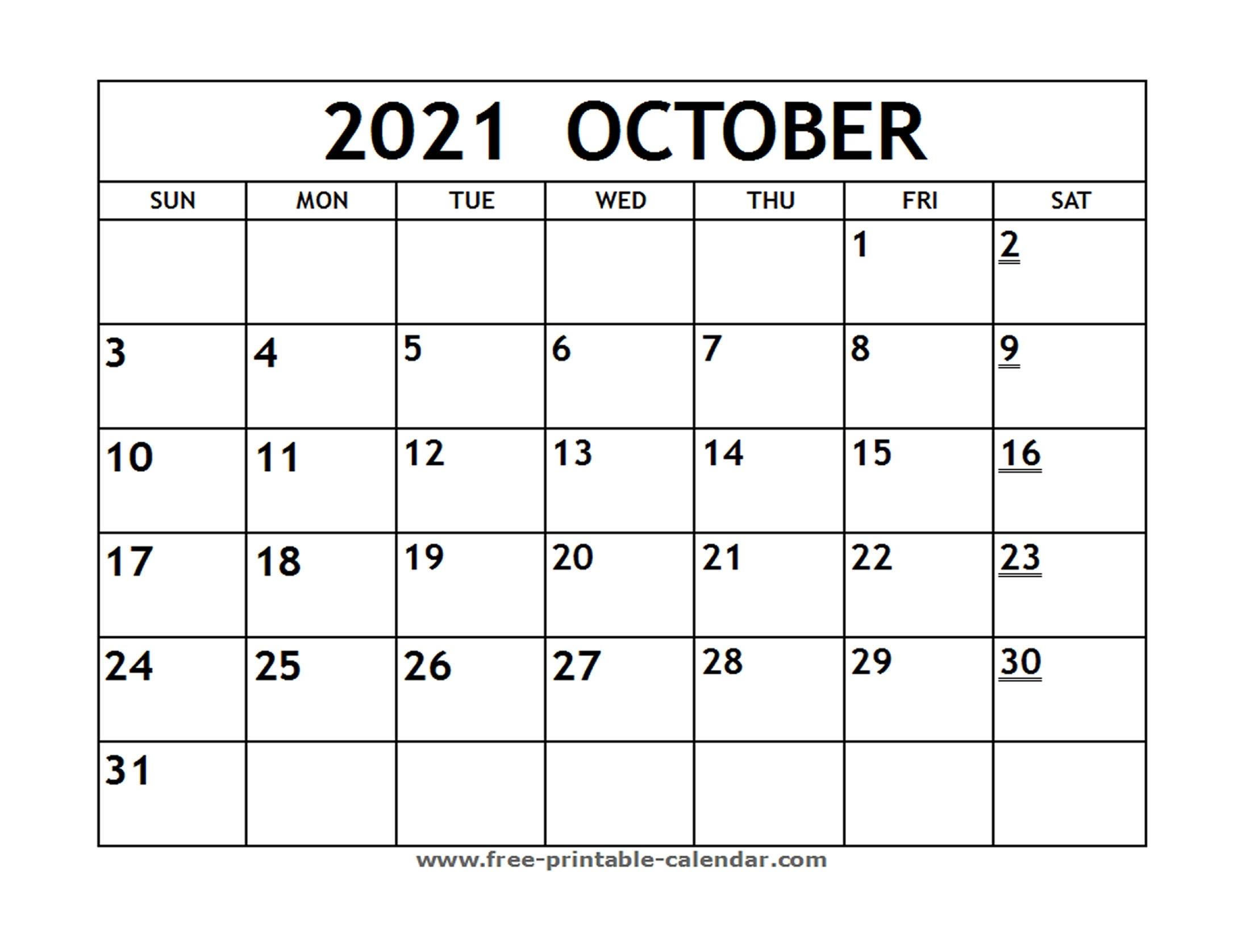 Printable 2021 October Calendar - Free-Printable-Calendar October 2021 Calendar To Print