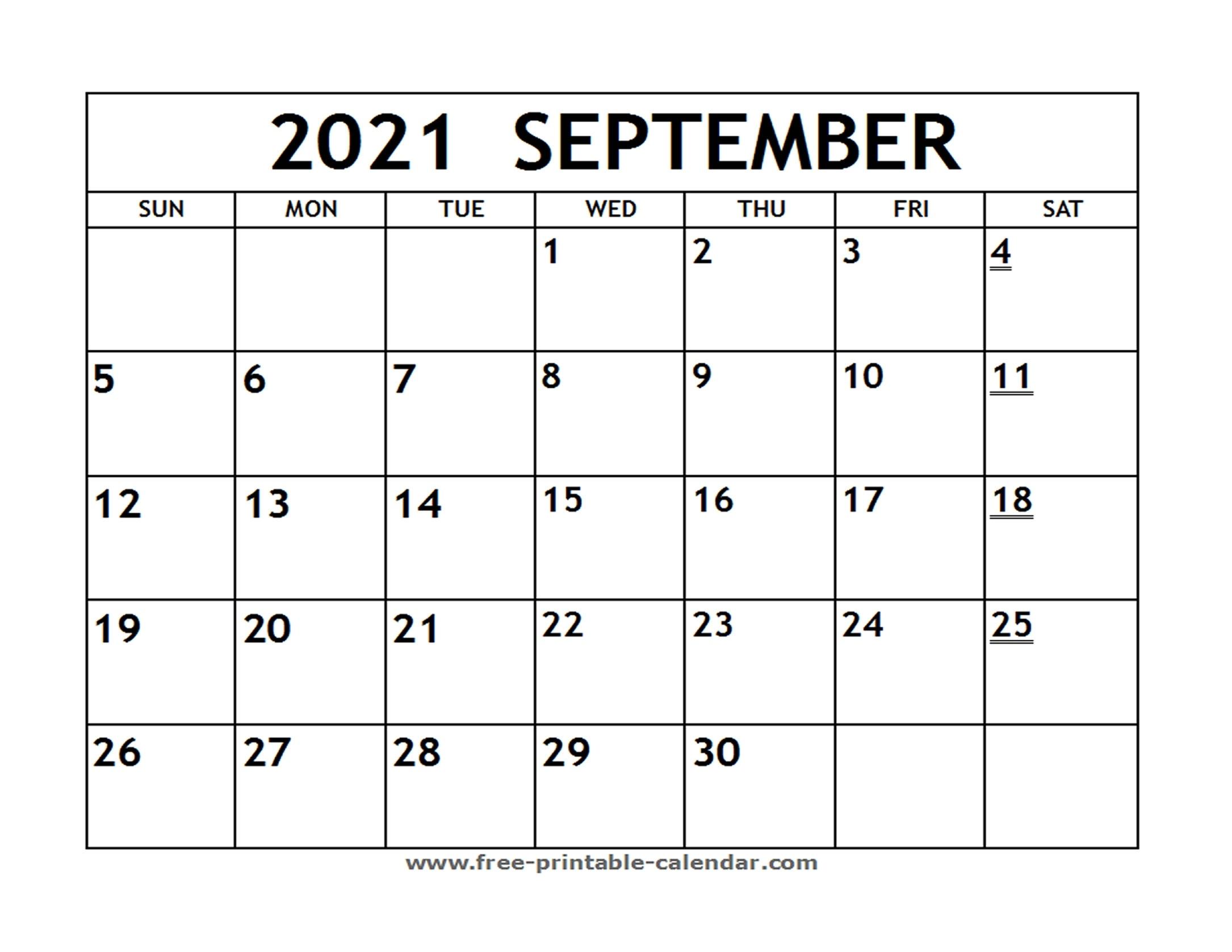 Printable 2021 September Calendar - Free-Printable-Calendar September 2021 Calendar Template