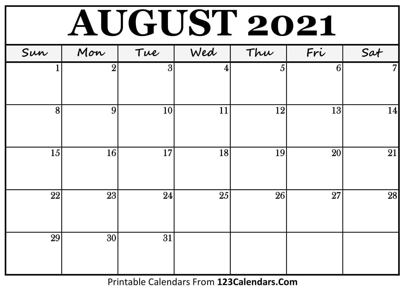 Printable August 2021 Calendar Templates - 123Calendars Calendar August 2020 To May 2021