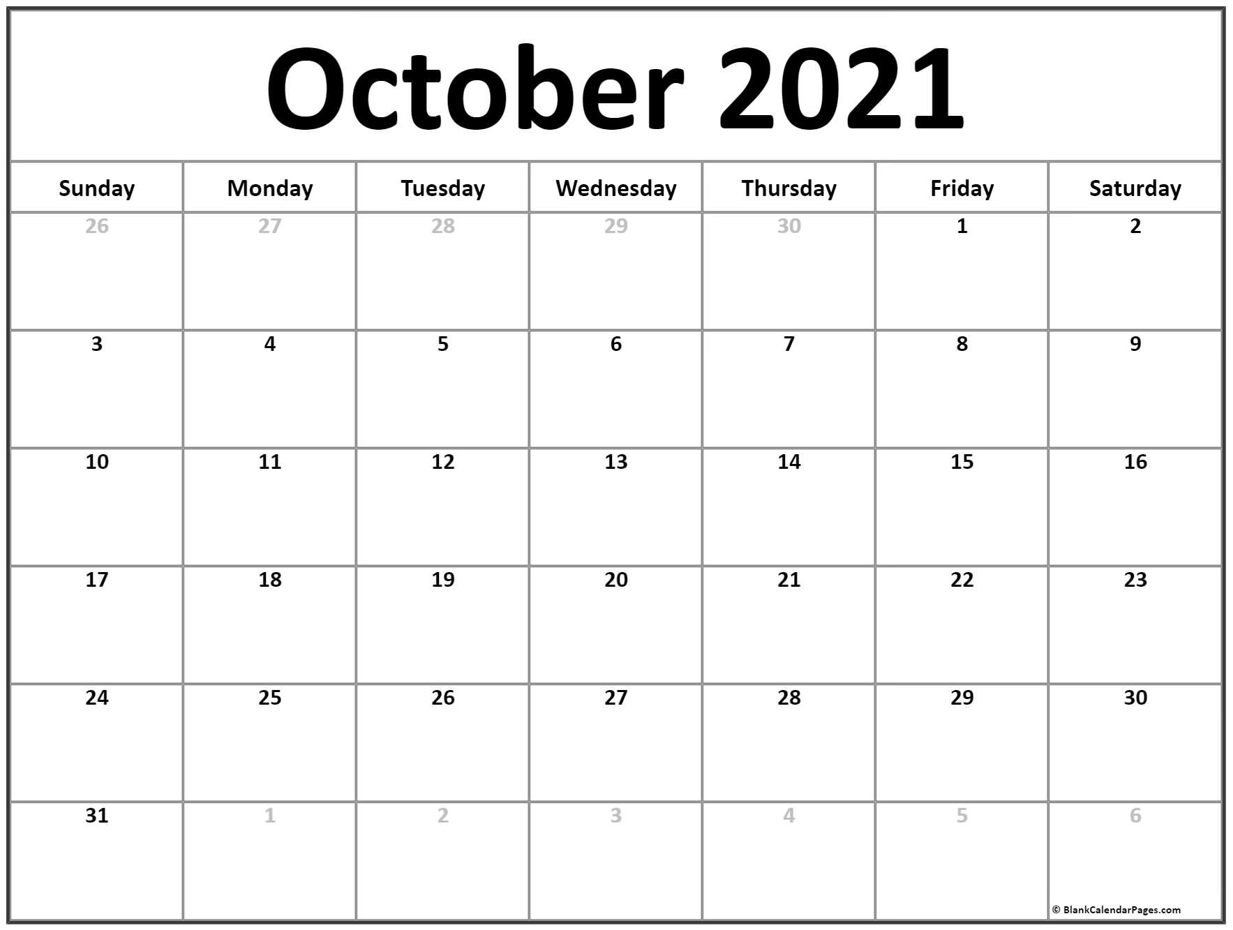 Printable Blank Monthly Calendar 2021 With Lines   Ten Free Printable Calendar 2020-2021 October 2020 To January 2021 Calendar