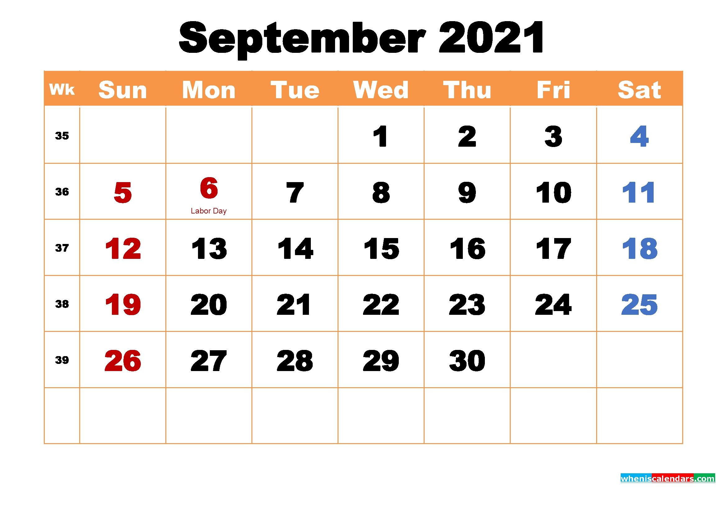 Printable Calendar For September 2021 2021 Calendar September Month