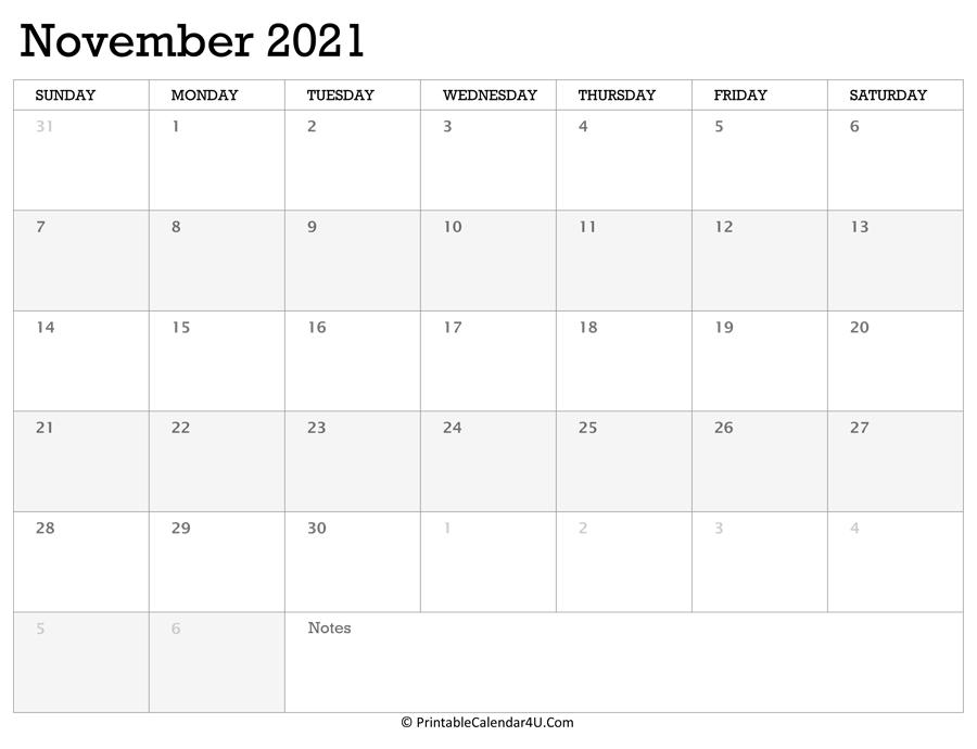 Printable Calendar November 2021 With Holidays Calendar For November 2021 With Holidays