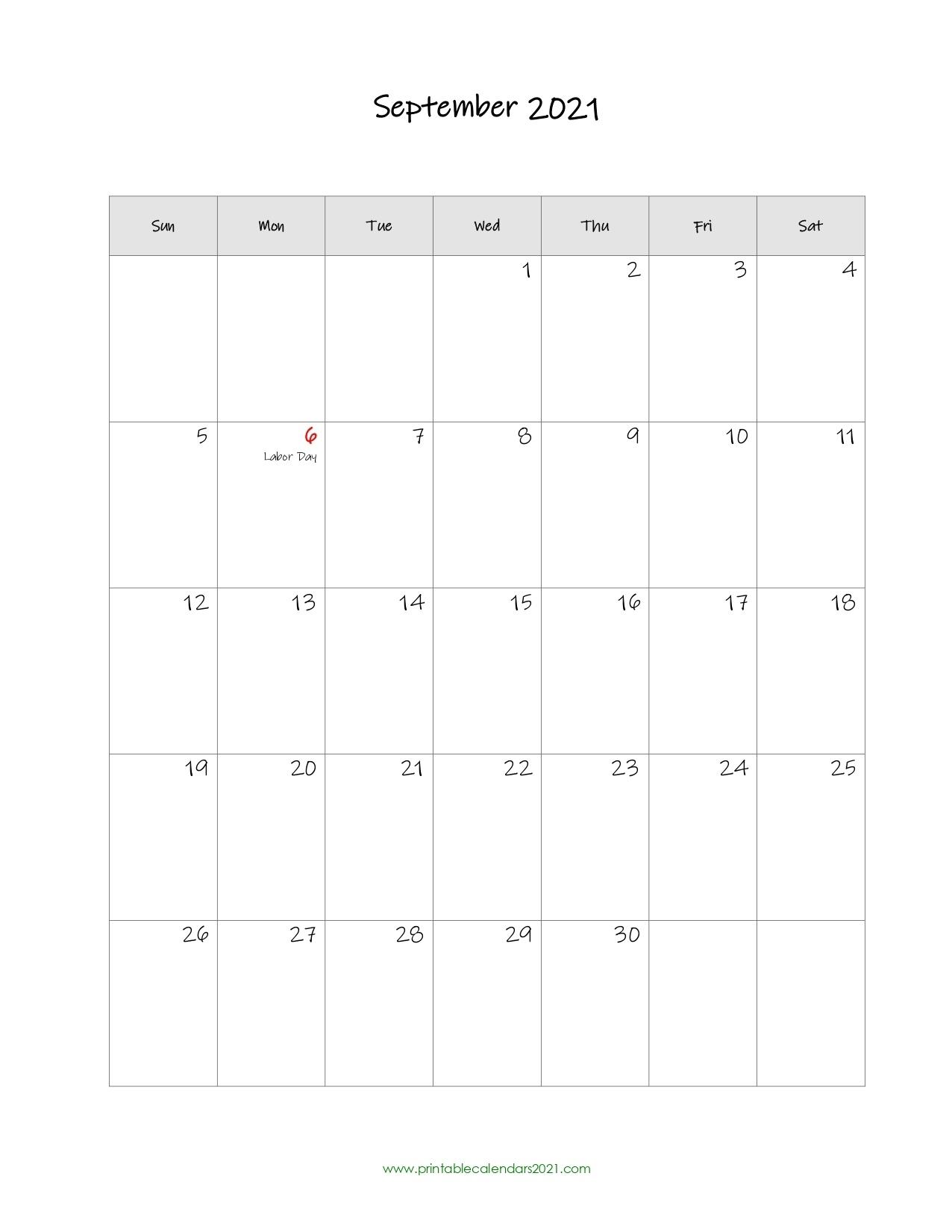 Printable Calendar September 2021, Printable 2021 Calendar With Holidays Printable Calendar September 2020 To September 2021