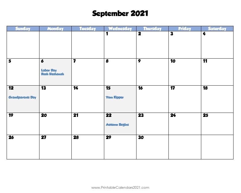 Printable Calendar September 2021, Printable 2021 Calendar With Holidays September - December 2021 Calendar