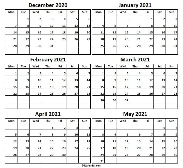 Printable December 2020 To May 2021 Calendar - Six Month Calendar Editable December 2021 Calendar