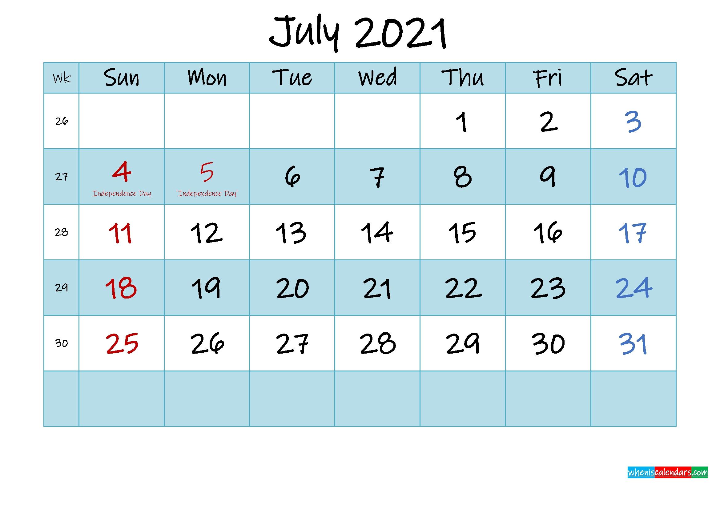 Printable July 2021 Calendar Word - Template No.ink21M475 July 2020 To December 2021 Calendar