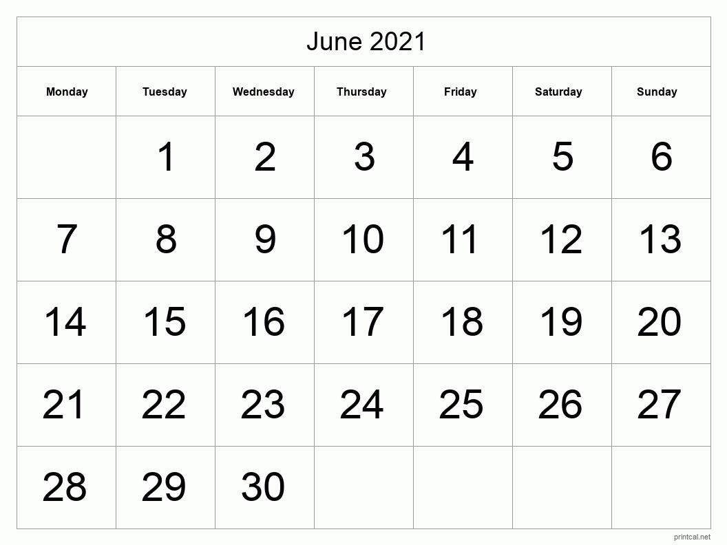 Printable June 2021 Calendar | Free Printable Calendars February March April May June 2021 Calendar