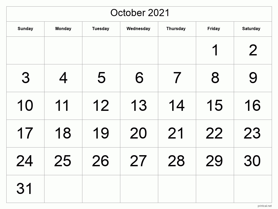 Printable October 2021 Calendar | Free Printable Calendars October 2021 Calendar To Print
