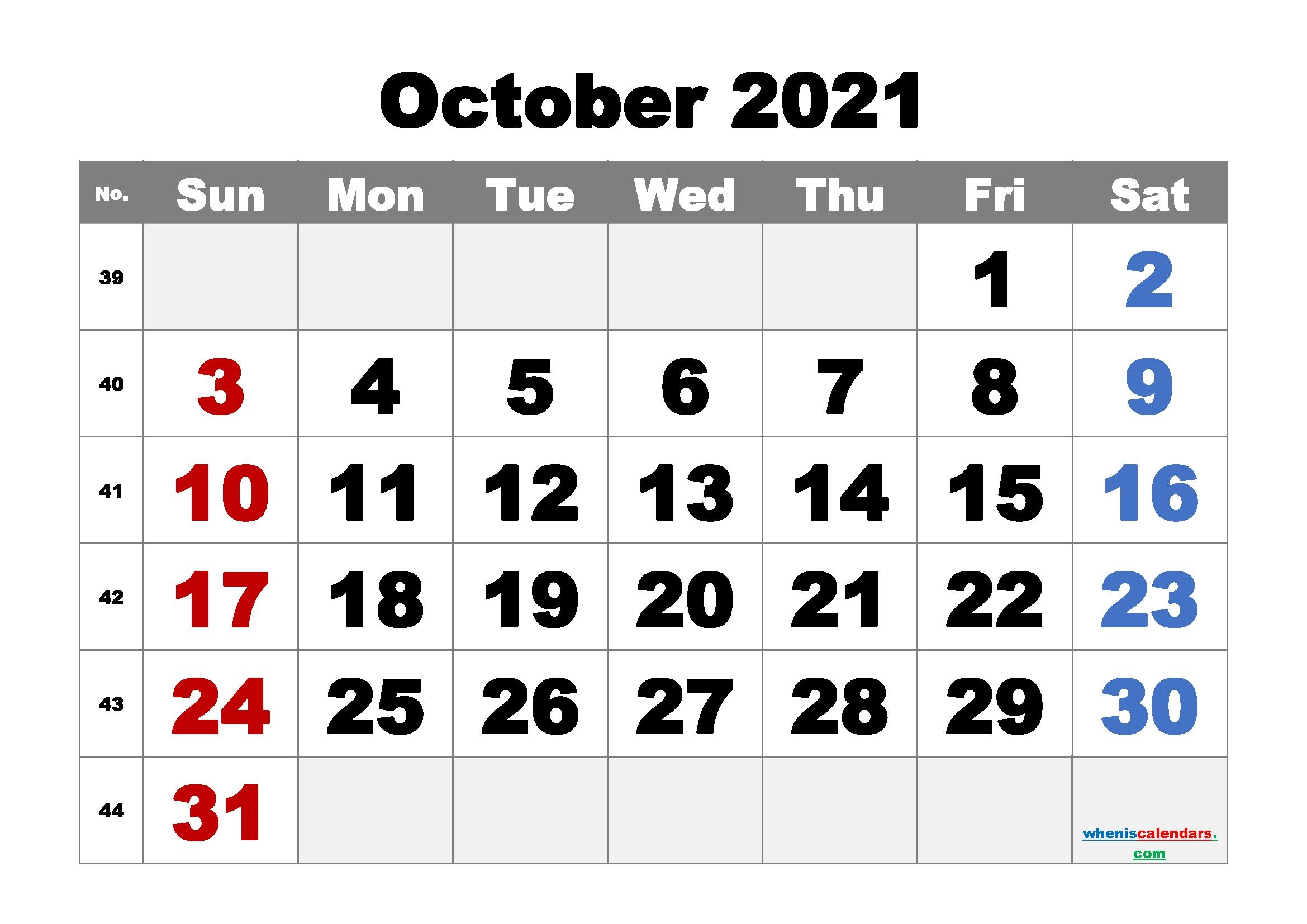 Printable October 2021 Calendar Free   Template M21Arialblack2 October 2021 Calendar Cute