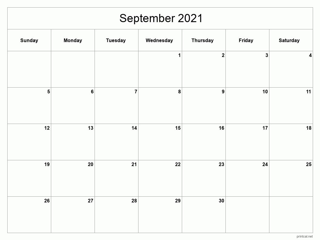 Printable September 2021 Calendar | Free Printable Calendars Printable Calendar September 2020 To September 2021