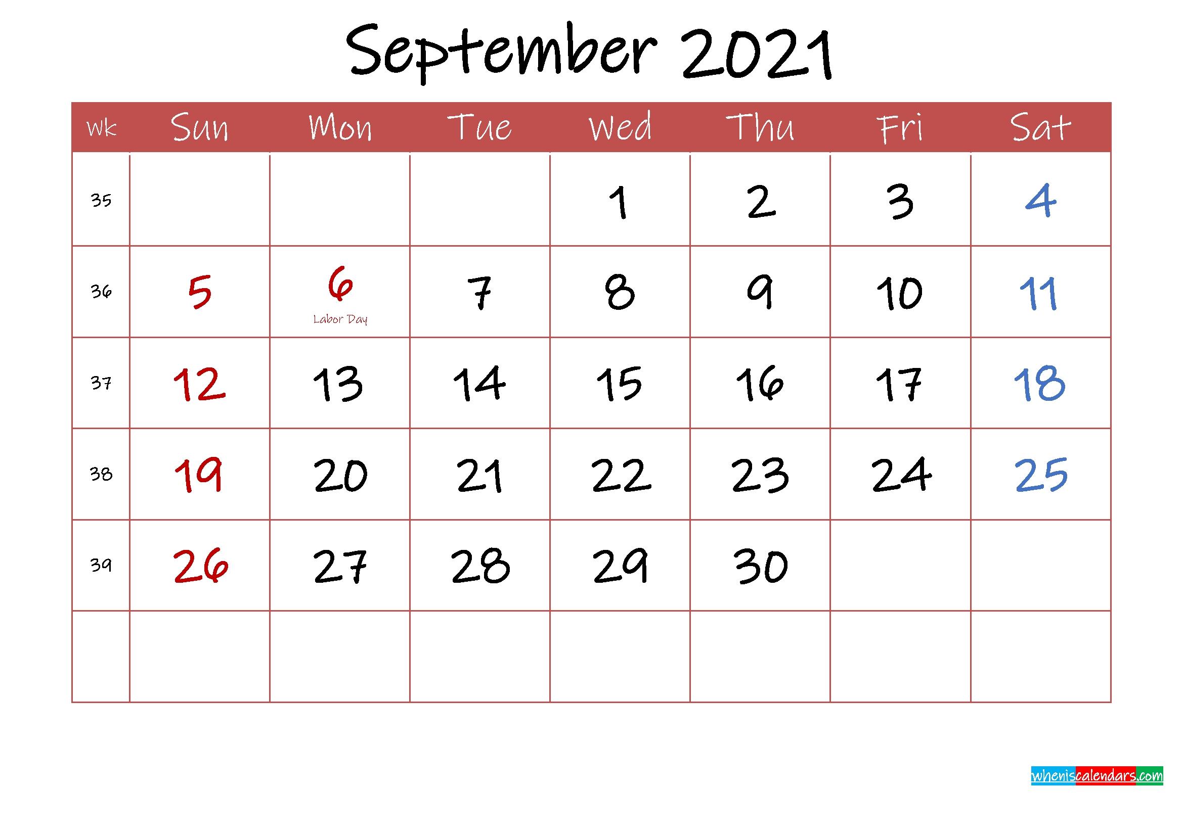Printable September 2021 Calendar With Holidays - Template Ink21M33 - Free Printable 2021 2021 Calendar September Month