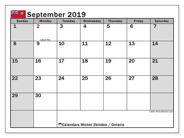September 2019 Calendar, Ontario (Canada) - Michel Zbinden En Canada September 2021 Calendar