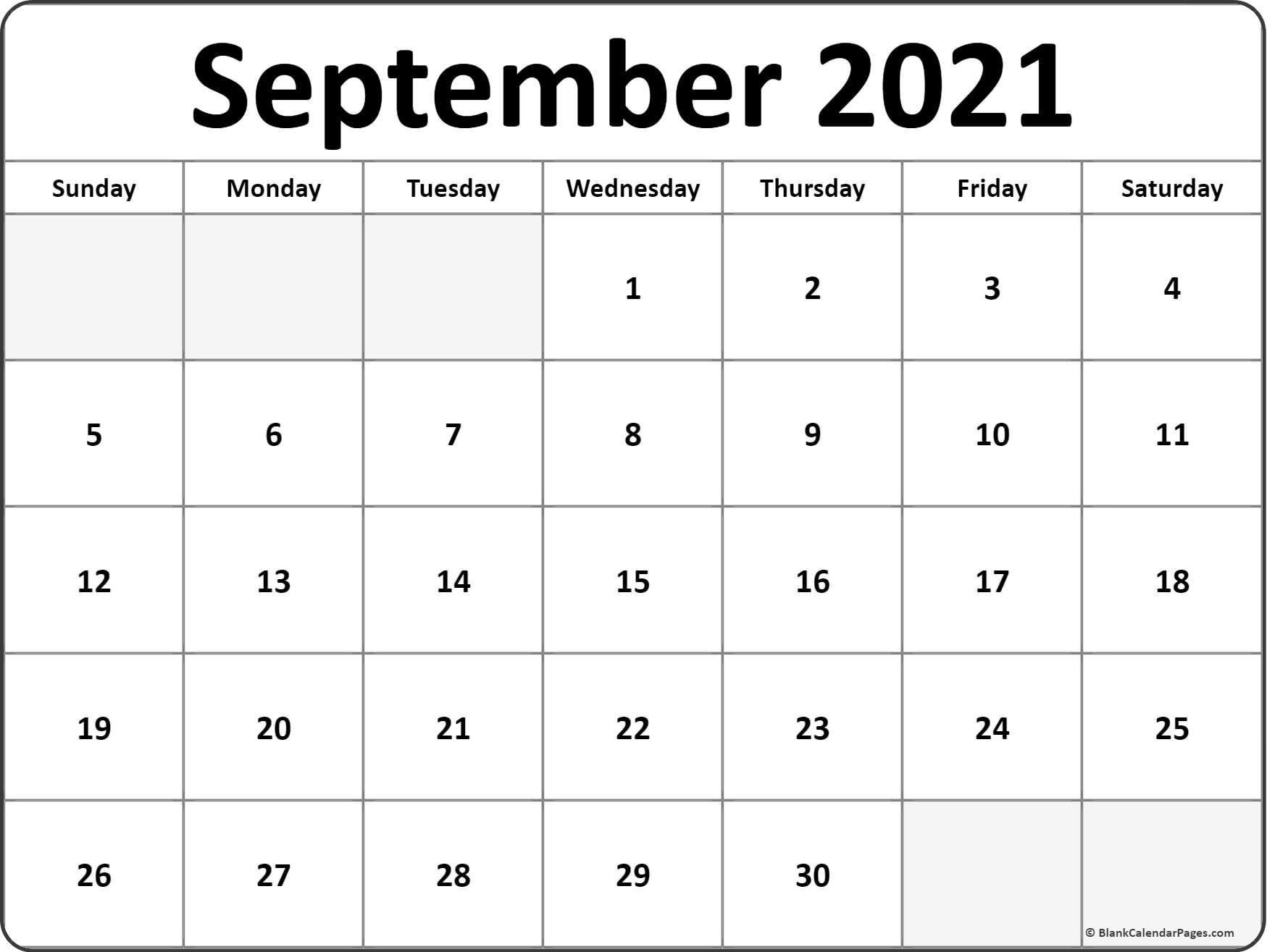 September 2021 Blank Calendar Collection. September - December 2021 Calendar