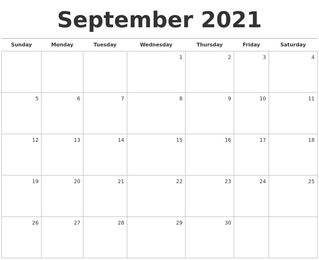 September 2021 Blank Monthly Calendar September - December 2021 Calendar