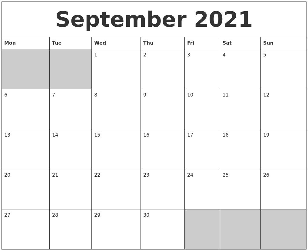 September 2021 Blank Printable Calendar Printable Calendar September 2020 To September 2021