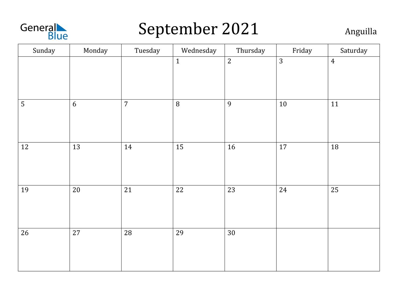 September 2021 Calendar - Anguilla Printable Calendar September 2020 To September 2021