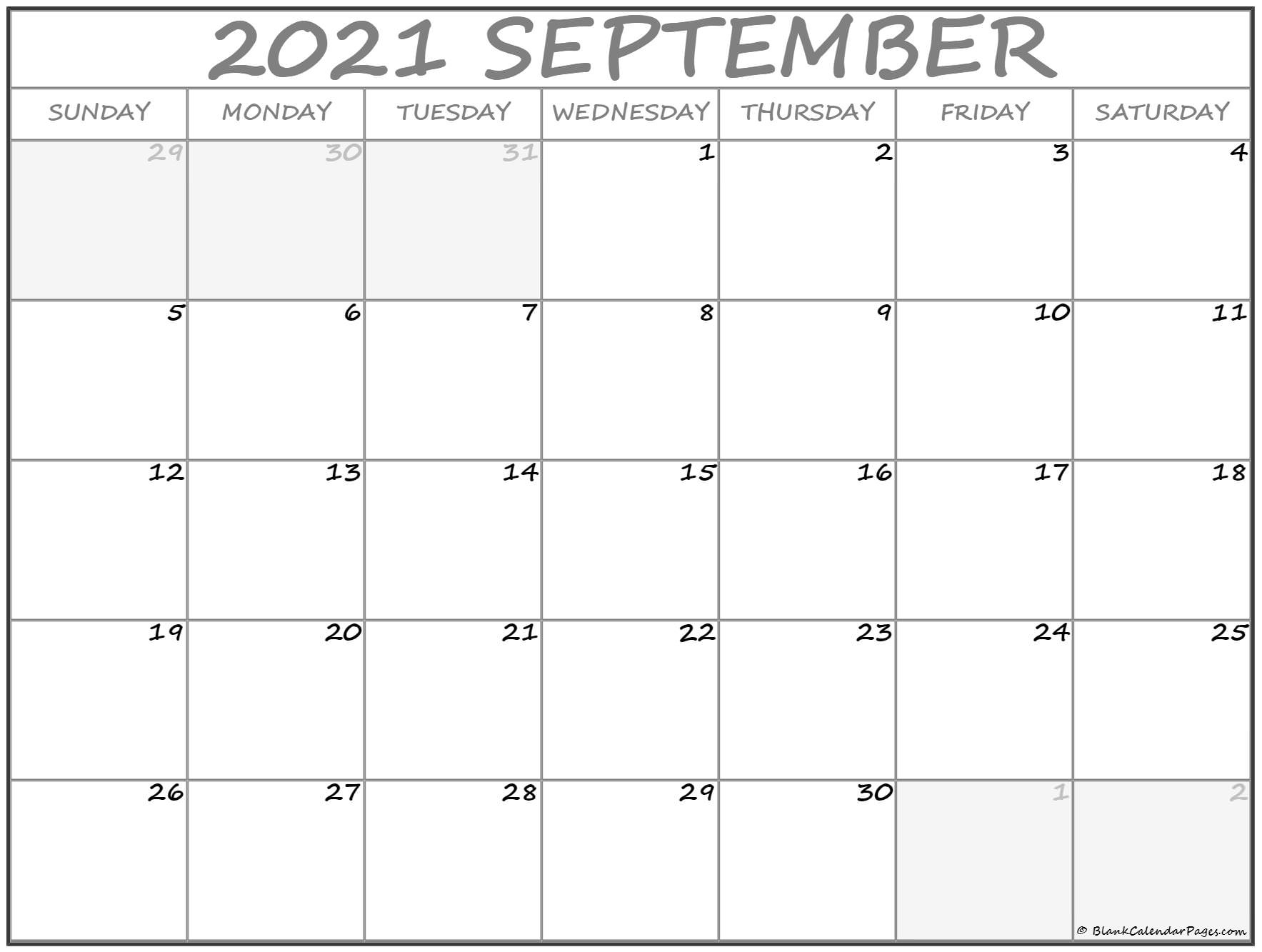 September 2021 Calendar | Free Printable Calendar Templates September To December 2021 Calendar