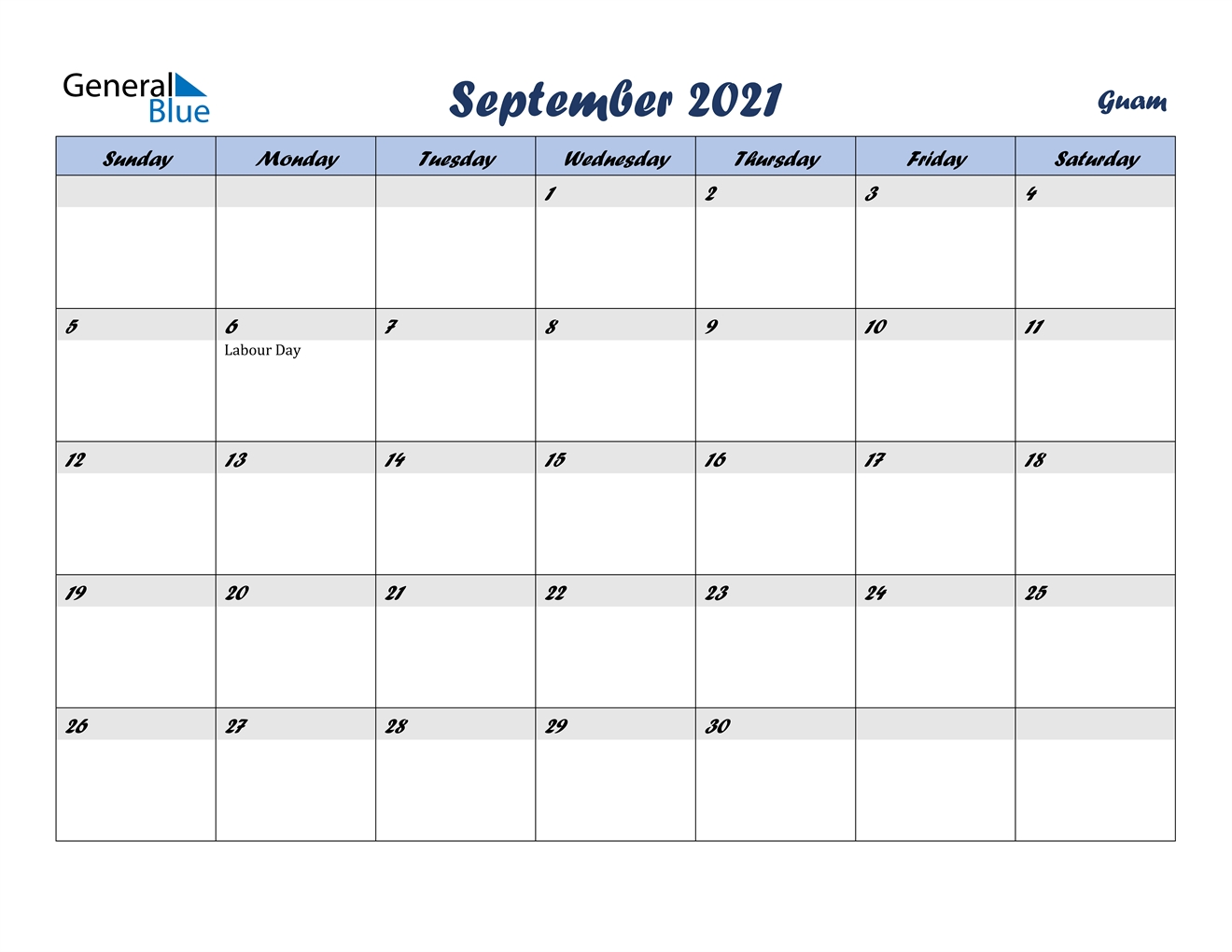 September 2021 Calendar - Guam September To December 2021 Calendar