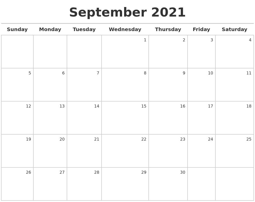 September 2021 Calendar Maker October 2021 Calendar Starting Monday