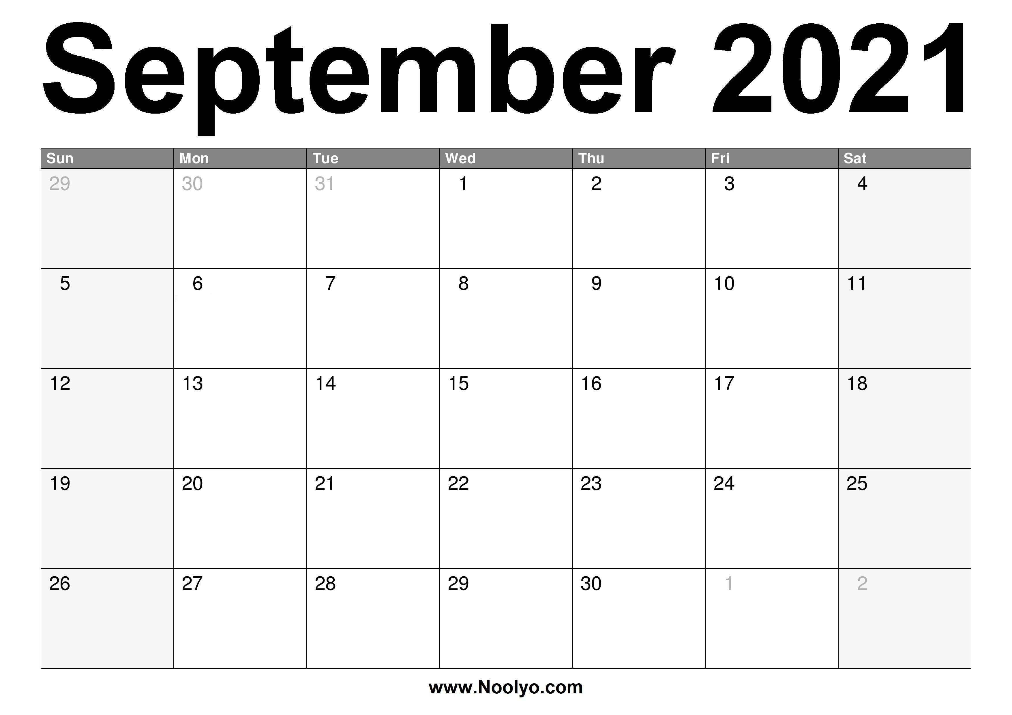 September 2021 Calendar Printable - Free Download - Noolyo September To December 2021 Calendar