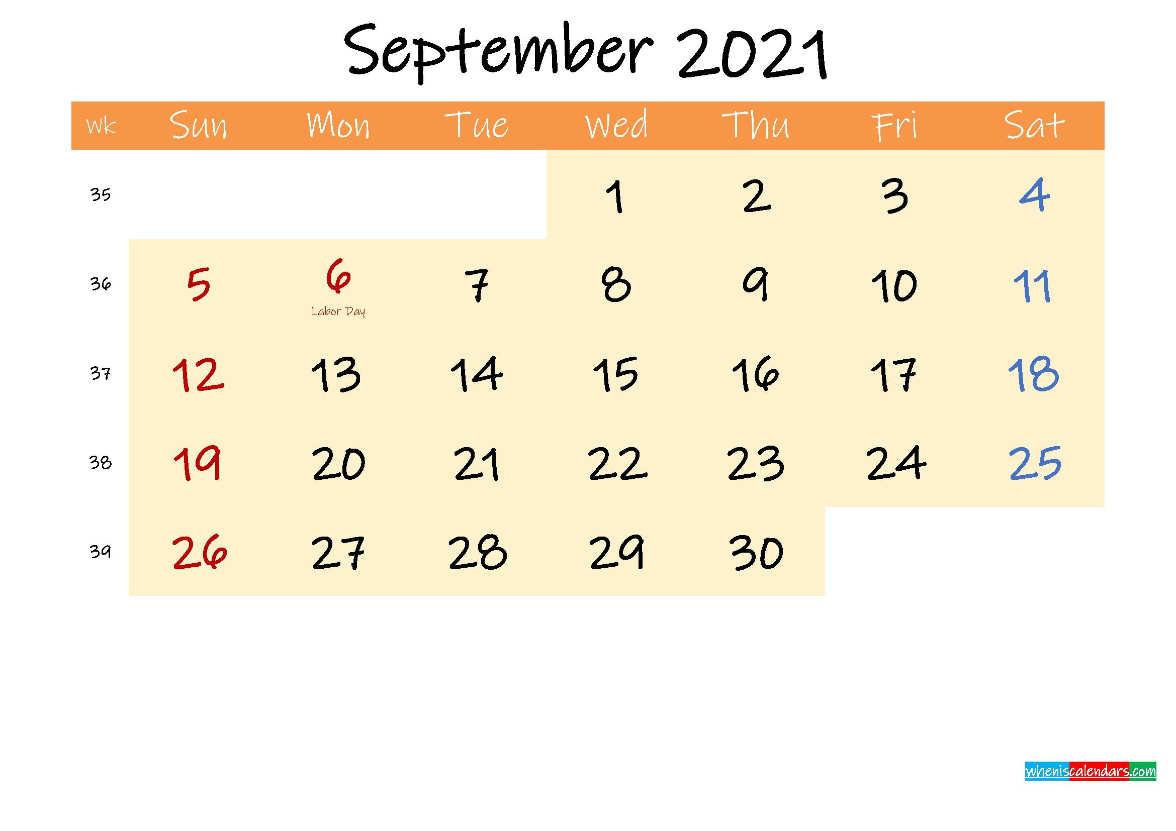 September 2021 Calendar Printable Template | Calendar Printables Free Blank Printable Calendar September 2020 To September 2021