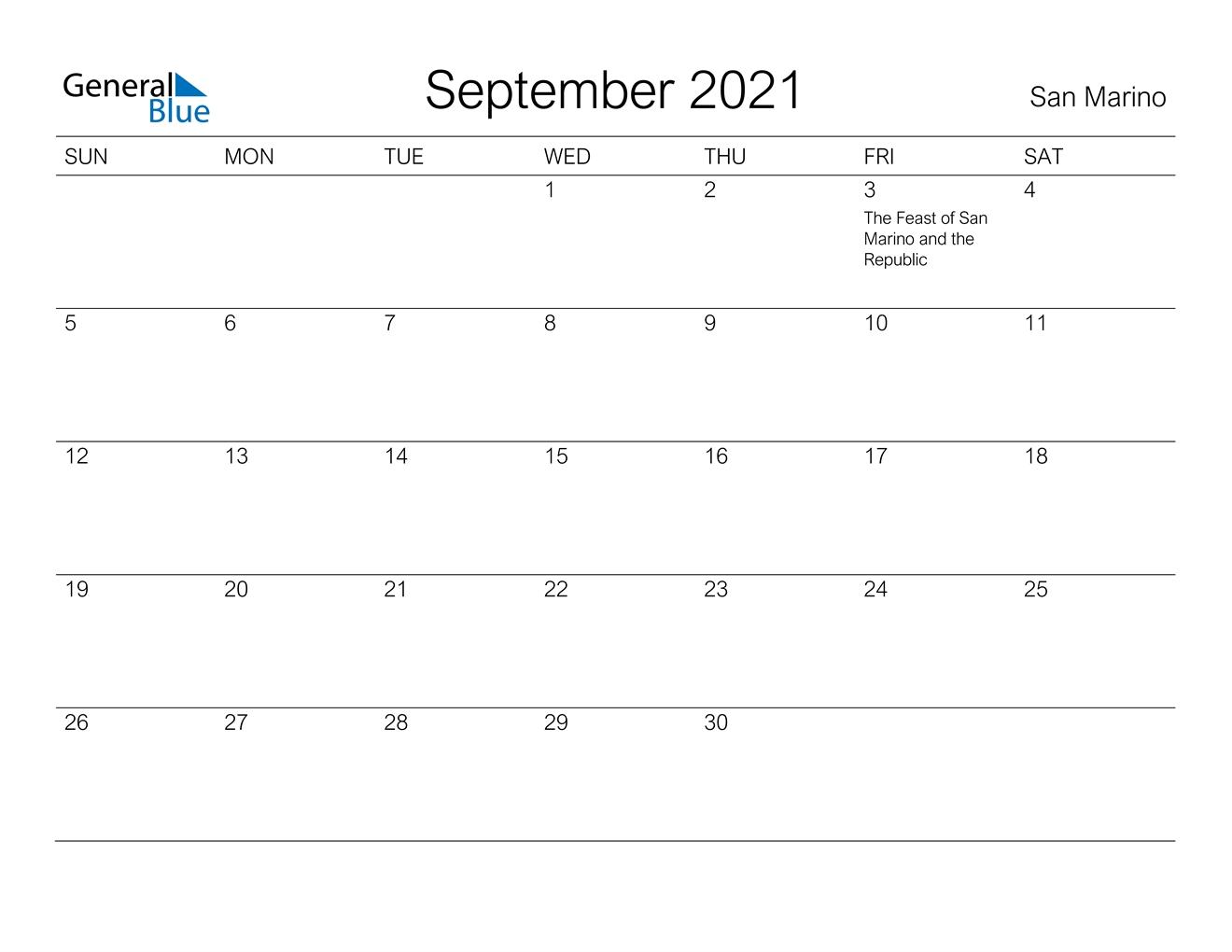 September 2021 Calendar - San Marino September To December 2021 Calendar