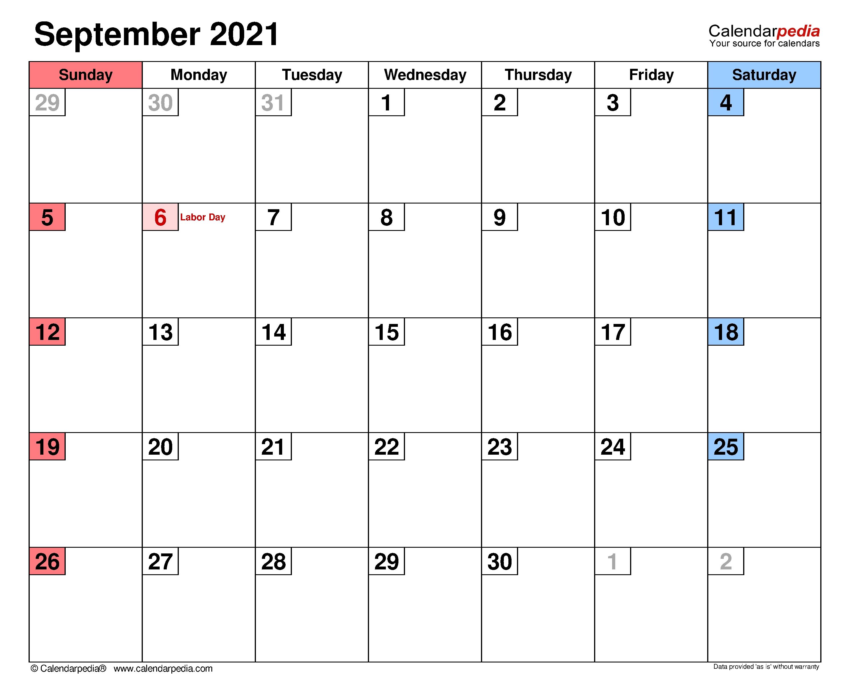 September 2021 Calendar | Templates For Word, Excel And Pdf Printable Calendar September 2020 To September 2021