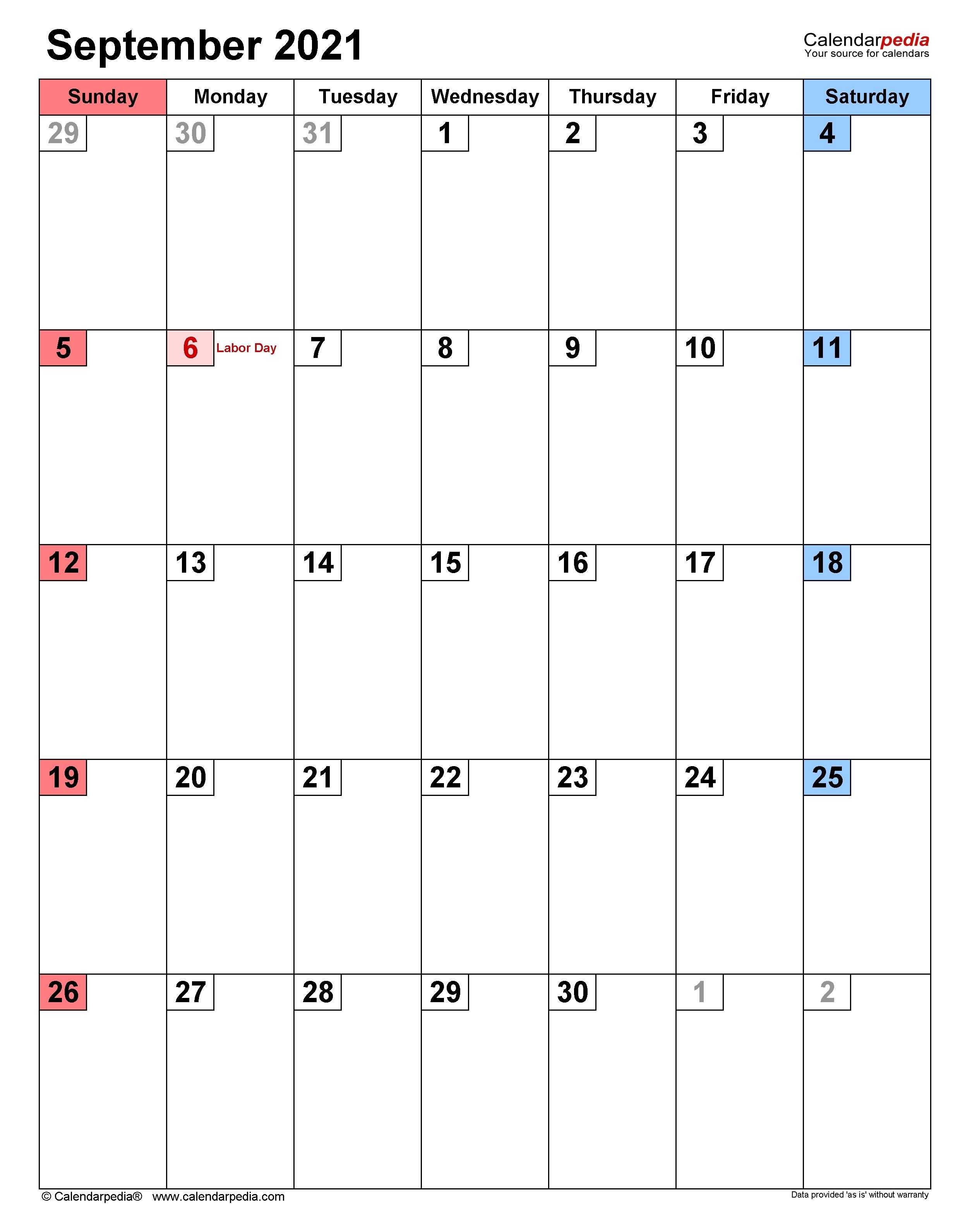 September 2021 Calendar   Templates For Word, Excel And Pdf September 2021 Calendar Pdf