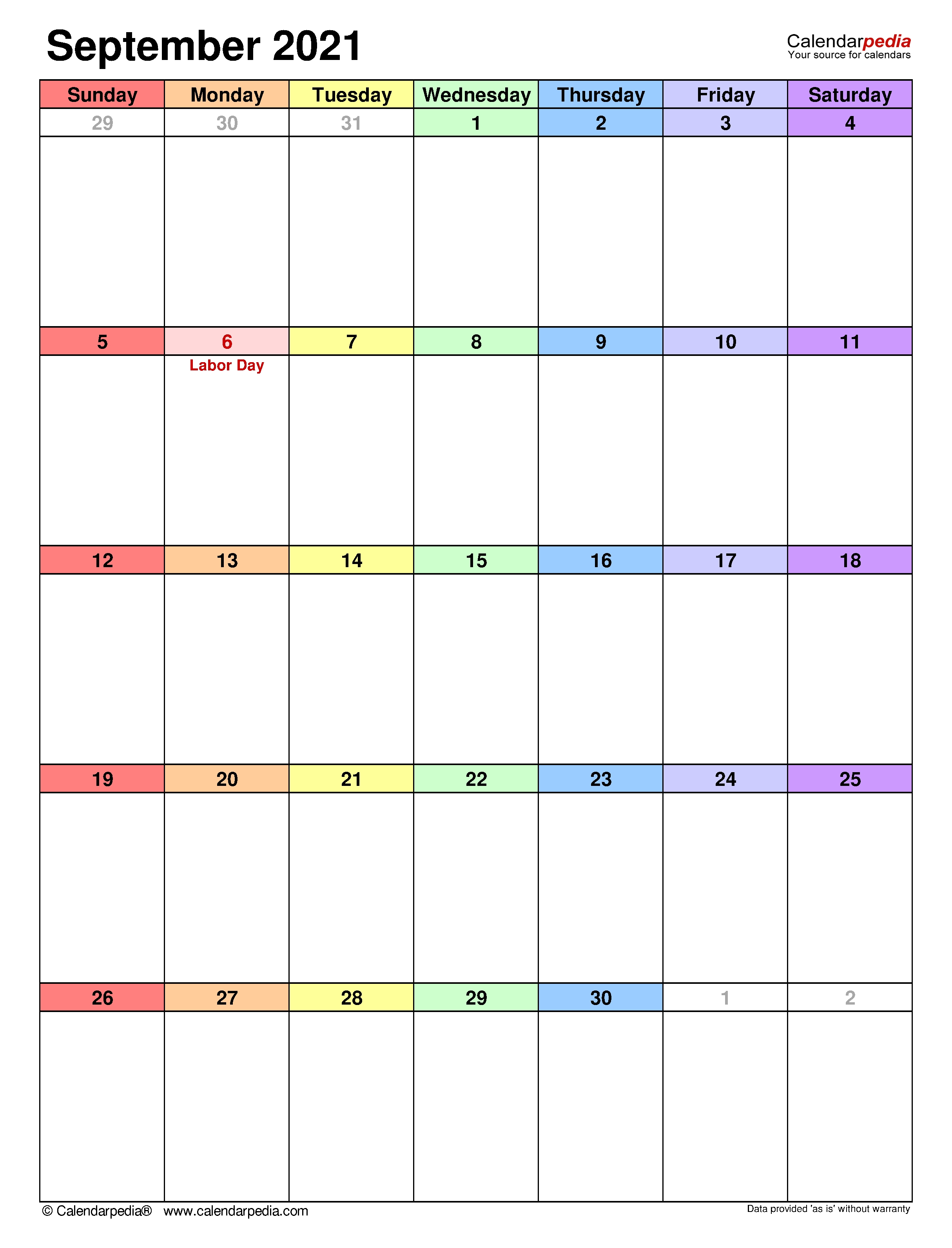 September 2021 Calendar | Templates For Word, Excel And Pdf September 2021 Calendar Template