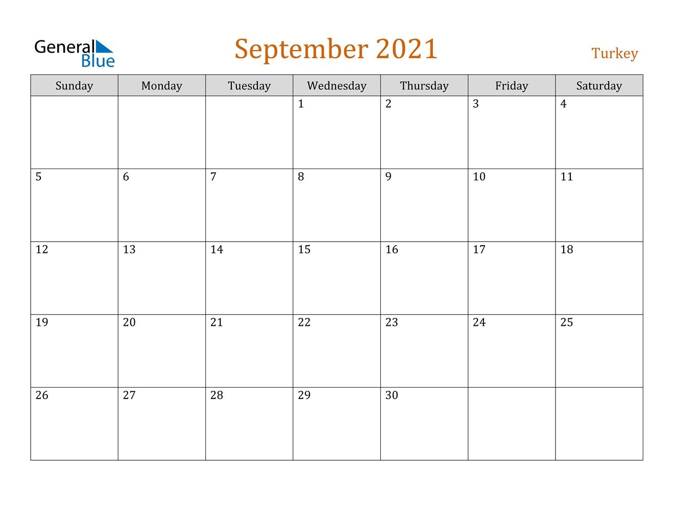 September 2021 Calendar - Turkey 2021 Calendar September Month