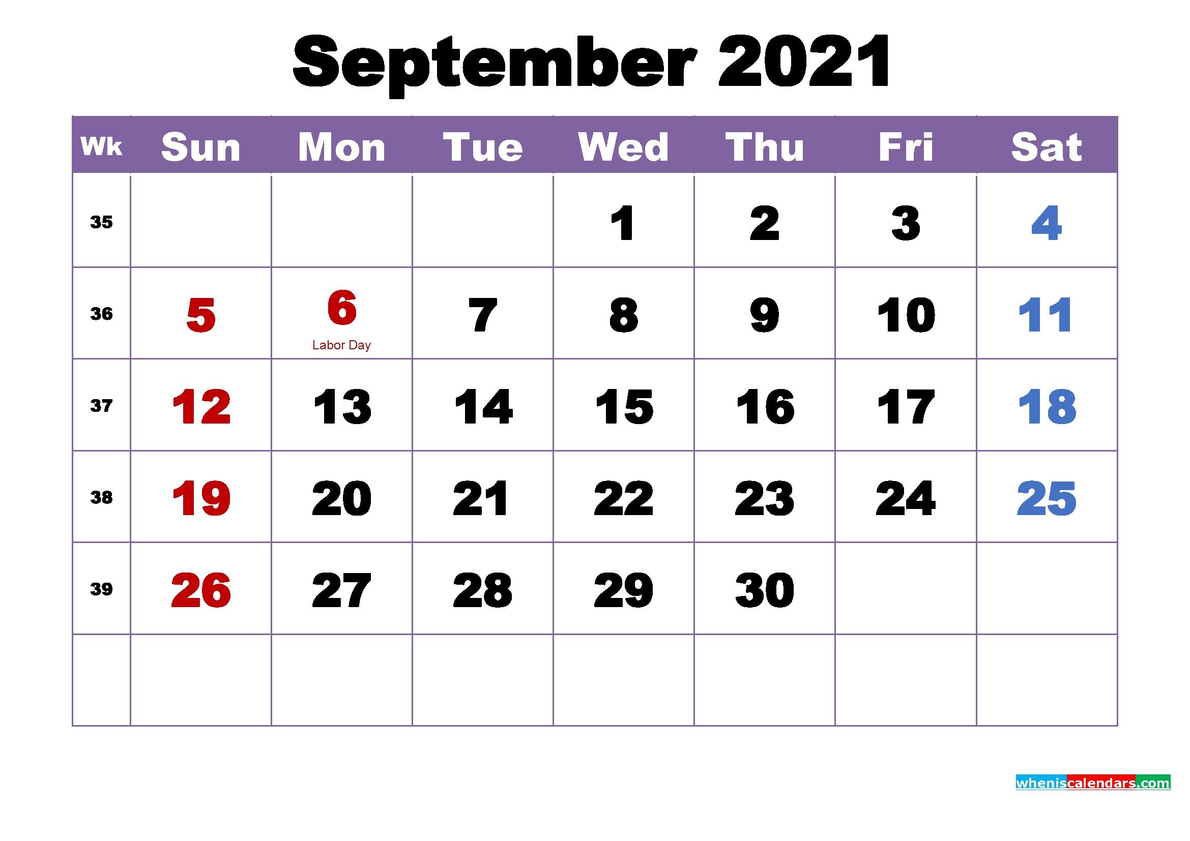 September 2021 Calendar With Holidays Printable September - December 2021 Calendar