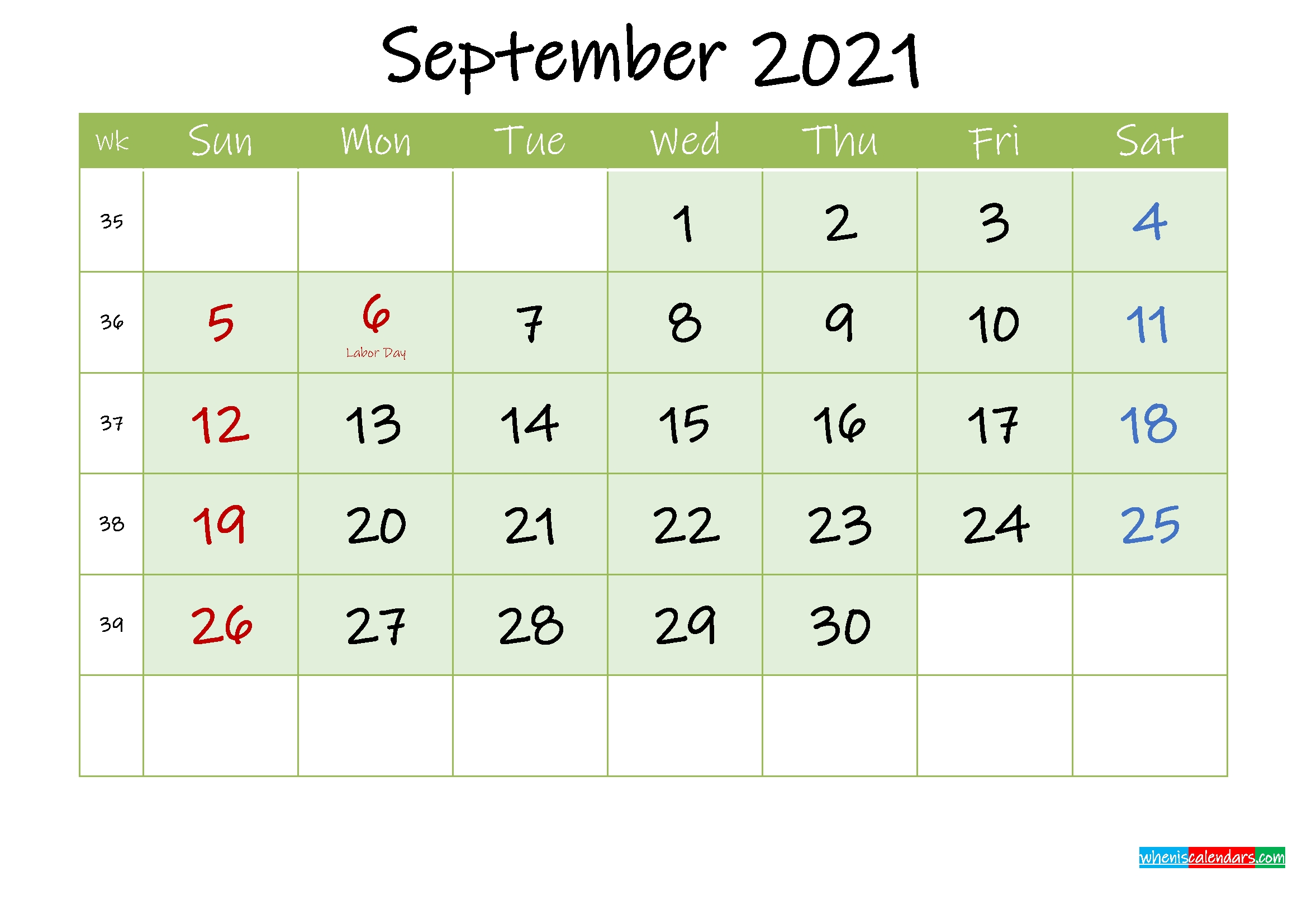 September 2021 Free Printable Calendar - Template Ink21M129 2021 Calendar September Month