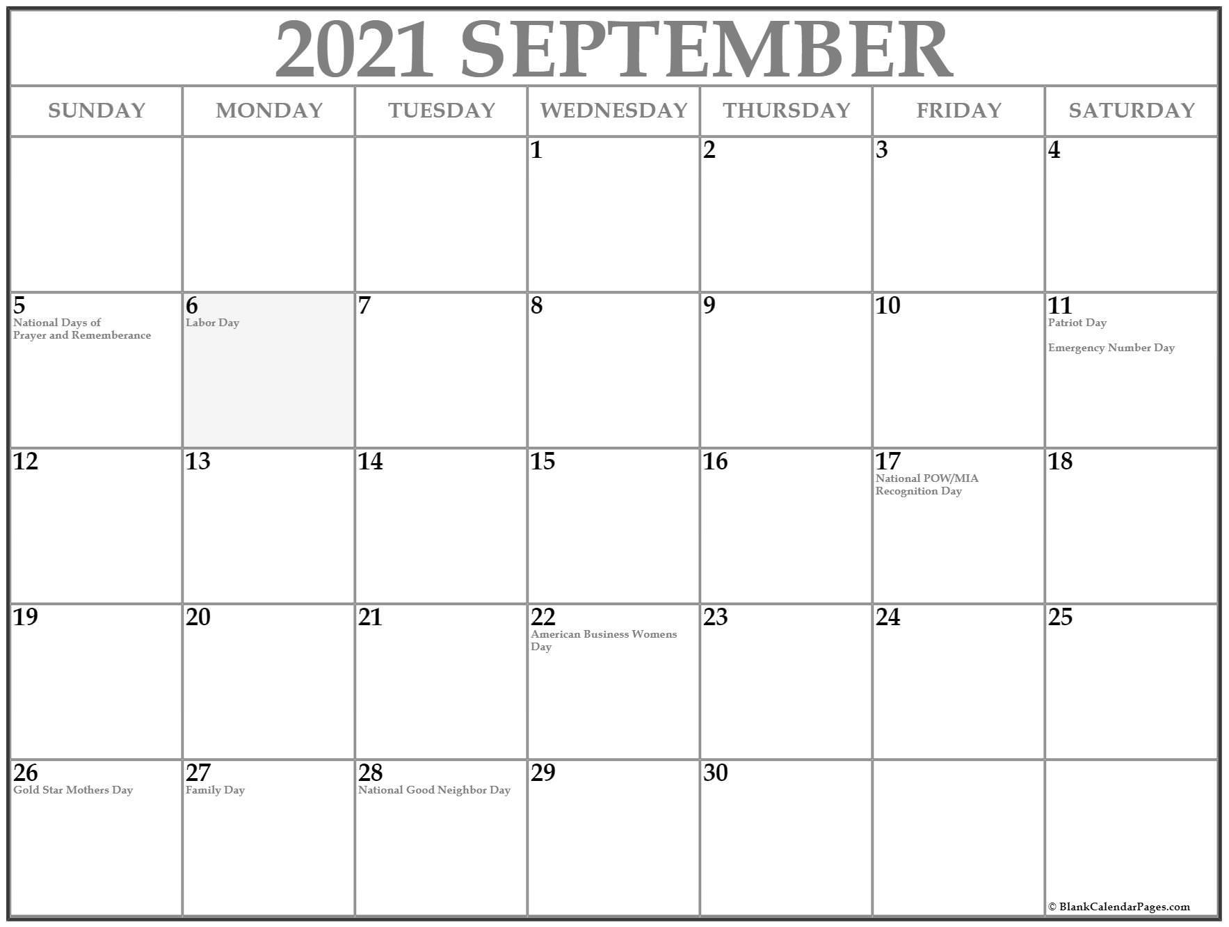 September 2021 With Holidays Calendar September - December 2021 Calendar