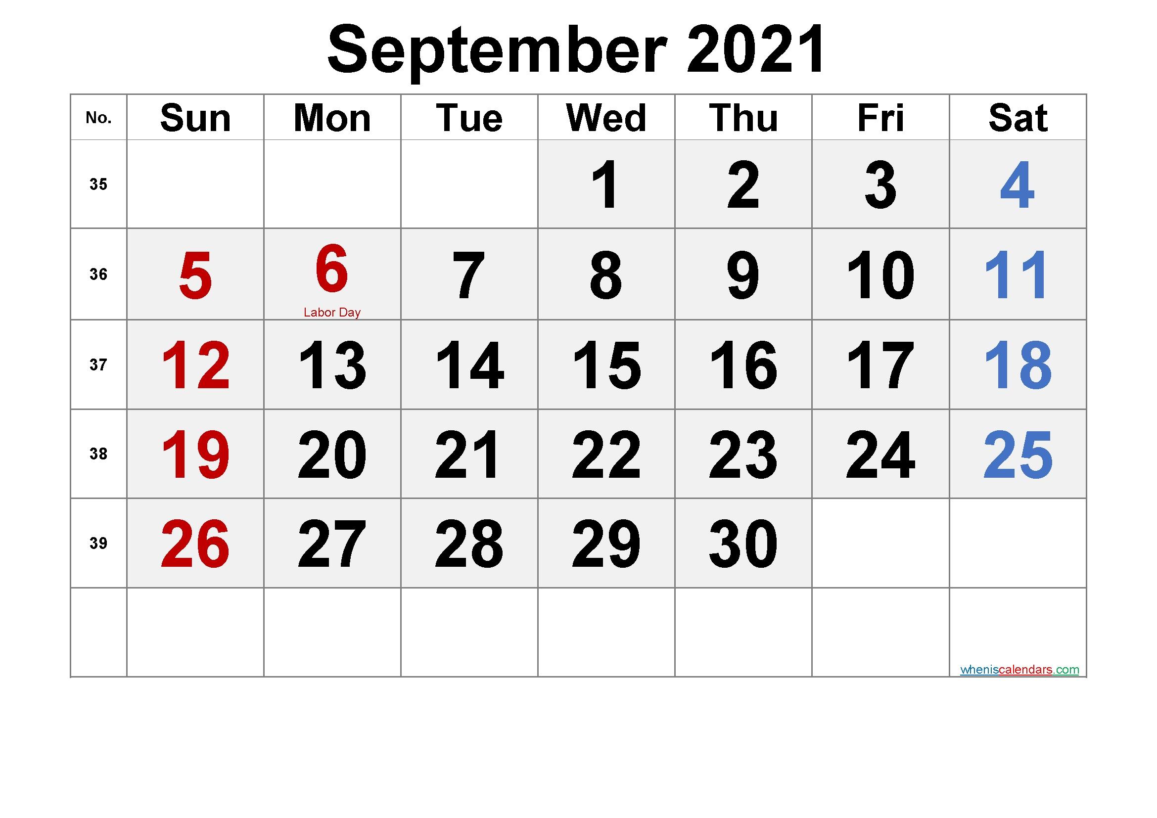 September Calendar 2021 Labor Day | Printable March September 2021 Calendar Template