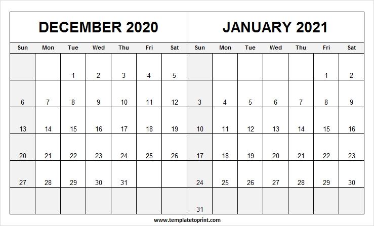 Two Month December 2020 January 2021 Calendar - Pinterest Calendar December 2020 January 2021