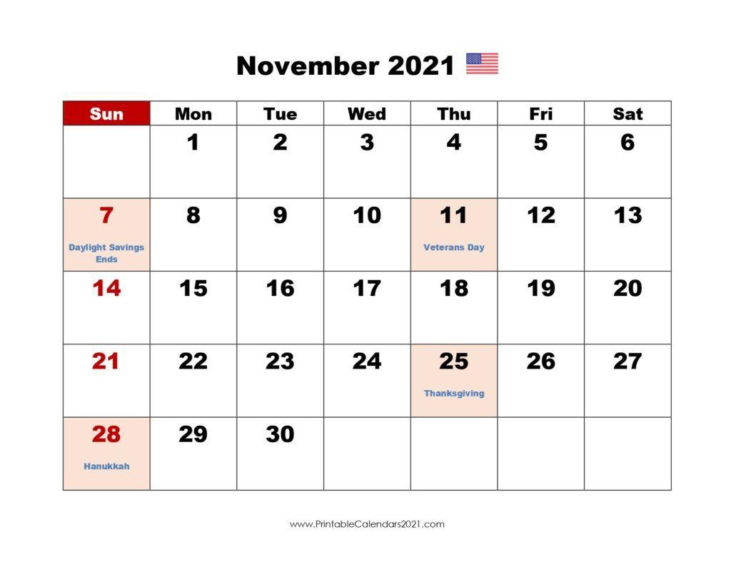 20+ November 2021 Calendar - Free Download Printable Calendar November 2020 Through April 2021