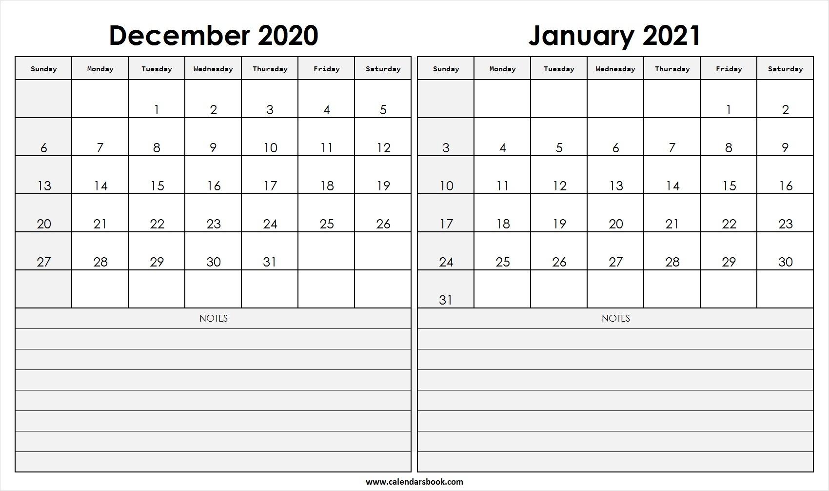 2021 Calendar December January 2020 | Avnitasoni December 2020 And Jan 2021 Calendar