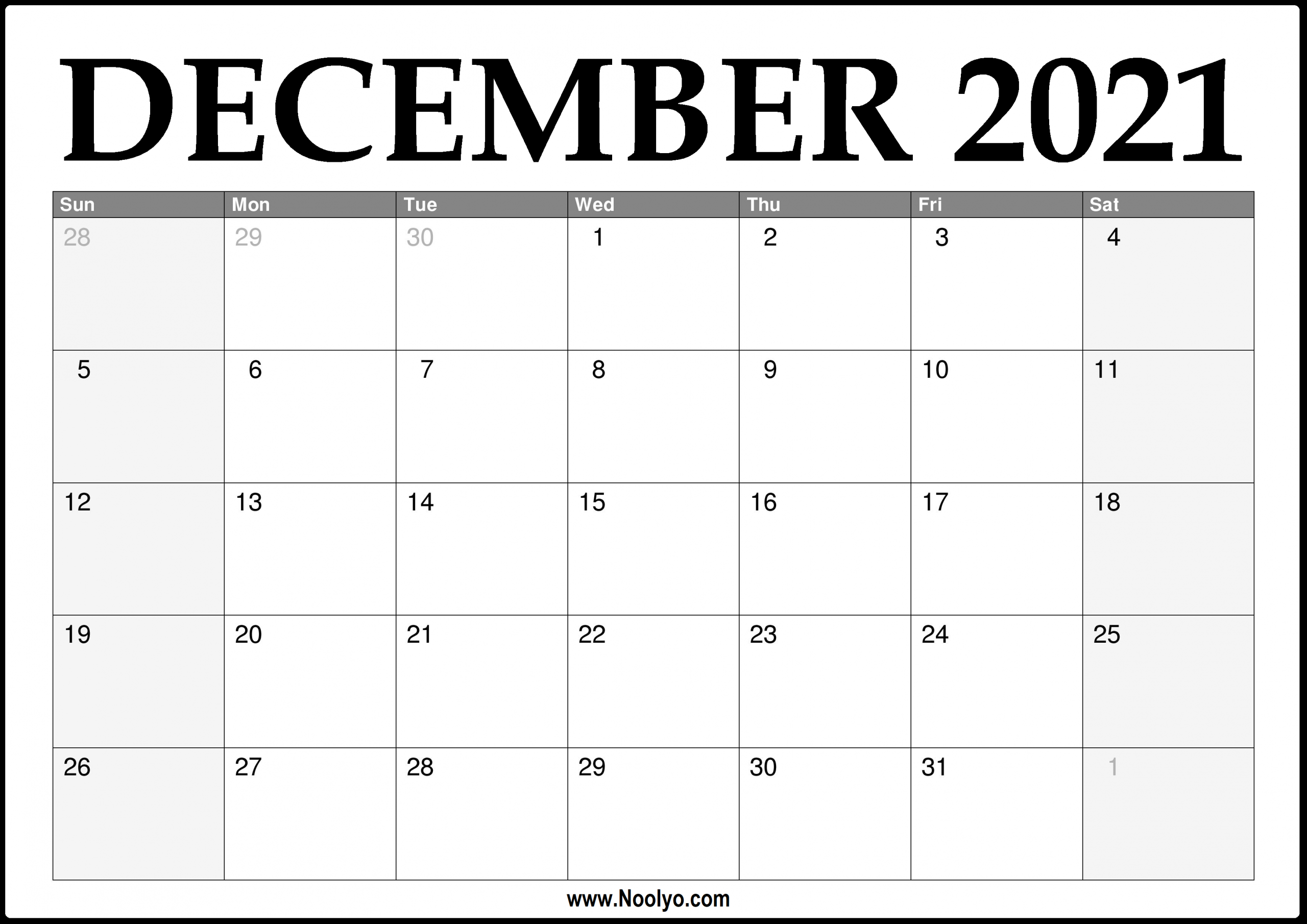 2021 December Calendar Printable - Download Free - Noolyo December 2021 Calendar Printable Free