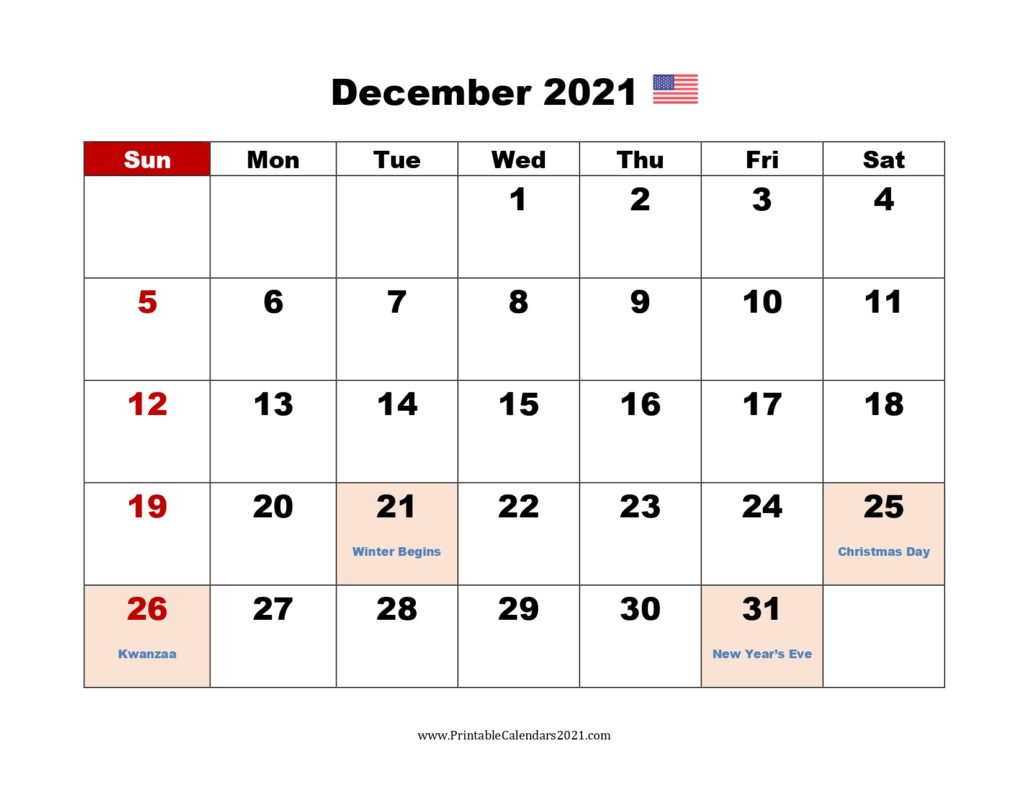 40+ December 2021 Calendar Printable, December 2021 December 2021 Calendar Printable Free
